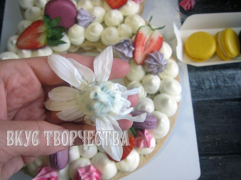 цветы изолируются от крема растопленным шоколадом