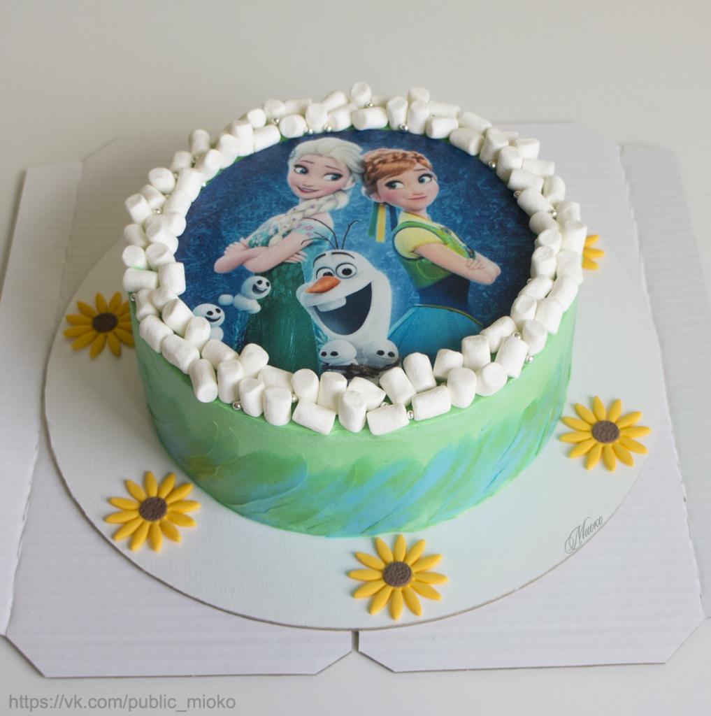 края торта декорированы маршмеллоу